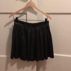 Alice and Olivia Leather Pleat Mini Skirt